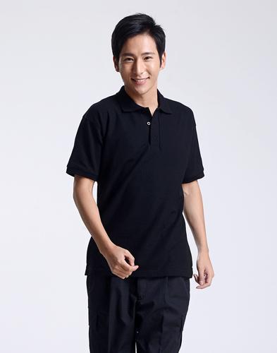 修身短袖纯棉黑色polo衫-003