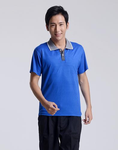 修身短袖纯棉深蓝polo衫-001