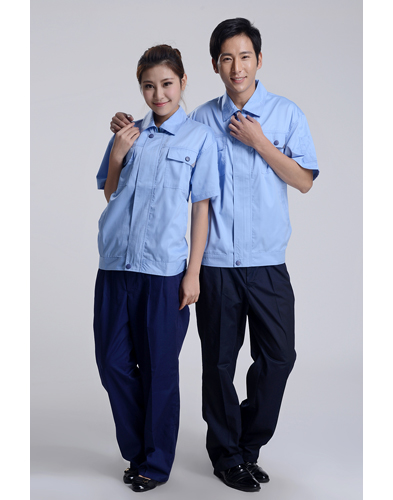 夏装蓝色短袖工作服-003