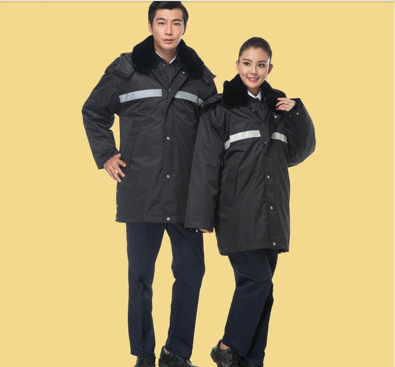 斯普荣棉服工作服保安面附近加厚防寒保暖棉袄中长反光条冬季多功能