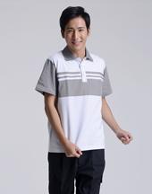 男T恤修身短袖白色polo衫-008