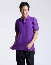 男T恤修身短袖紫色polo衫-004