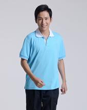 修身短袖纯棉荧光蓝polo衫-002