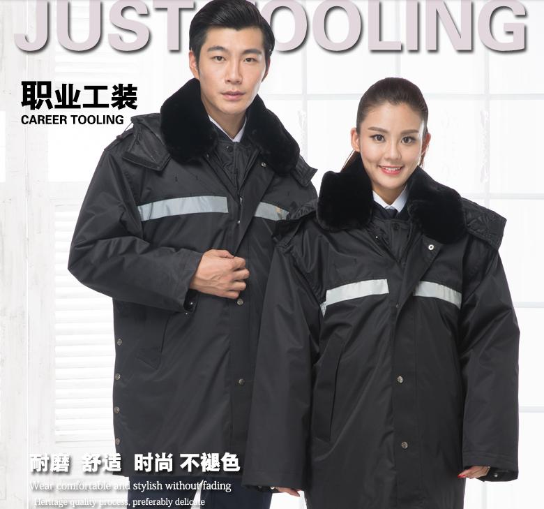 斯普荣棉服工作服保安面附近加厚防寒保暖棉袄中长反光条冬季多功能棉服