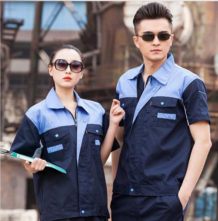 斯普荣定制工作服套装男短袖夏季工作服机械汽修劳保服工作服